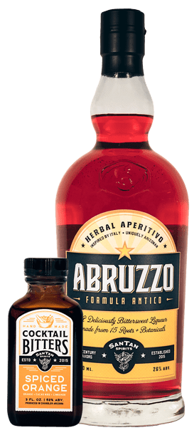 SanTan Spirits Herbal Spirits, Spice Orange Cocktail Bitters and Abruzzo Antica